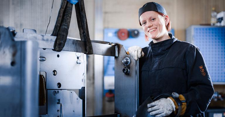A welder in the factory